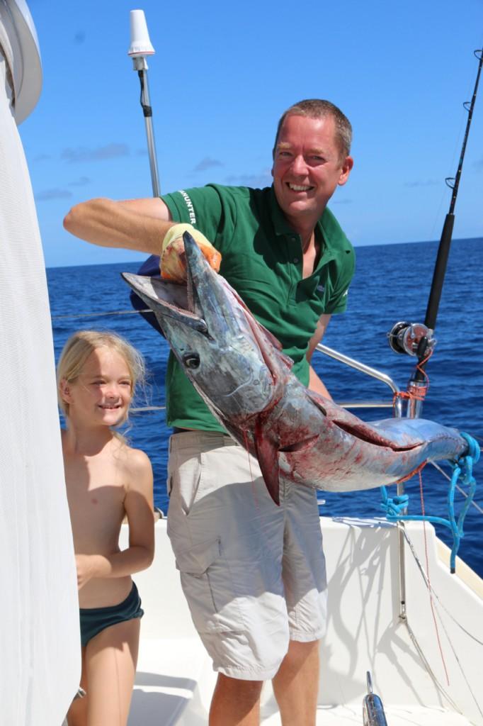 Catch of the day: Ein 1,61 m Wahoo, über 30 kg. Sagt der Angellateiner