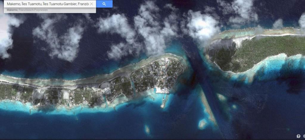Die Zufahrt zum Makemo-Atoll; Bis zu neun Knoten Strömung im Kanal.