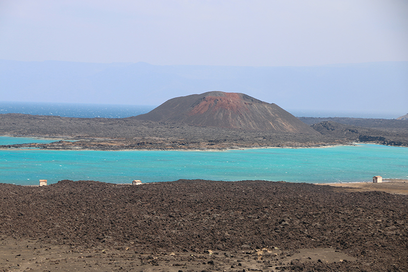 Djibouti Beach aus der Ferne. Die Bucht ist wunderbar und windgepeitscht
