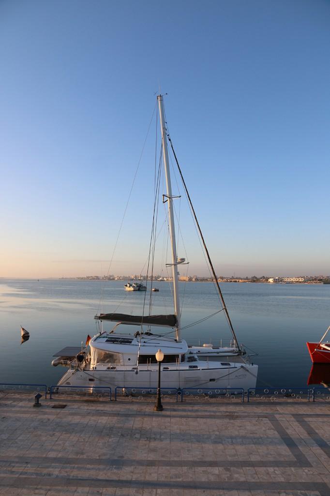 Alytes am Dock des Ismaeliya Yacht-Clubs. Der erste Tag ist geschafft.